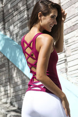 Designer Pink Long Tank Top with Cross Back Strap LT1124