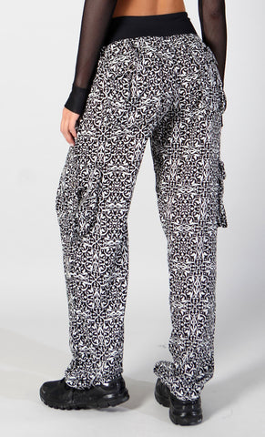 Black Patterned Long Pants LP603 - Equilibrium Activewear