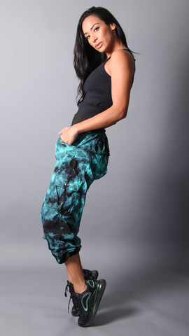 TEAL TIE DYE LIS LONG PANTS LP603 - Equilibrium Activewear