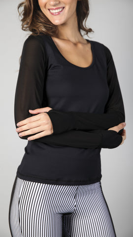 Black on Black Supplex® and Tule Long Top 1073 - Equilibrium Activewear