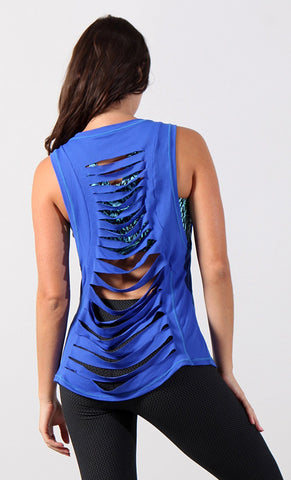 Long Top 1090 Royal Blue Mesh with Laser Cuts - Equilibrium Activewear