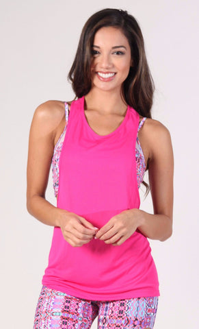 Long Top LT 1097 Pink Muscle tee - Equilibrium Activewear