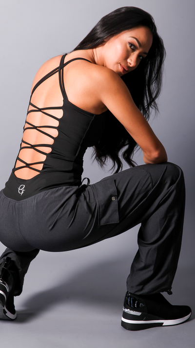 Black Karen Tank Top [LT113] - Equilibrium Activewear