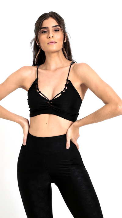 Lace Up Black Muse Bra T477