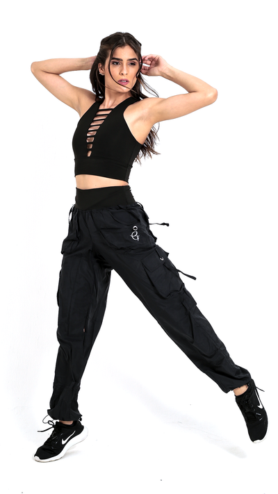 High-Waist Cargo Black Lis Long Pant LP603