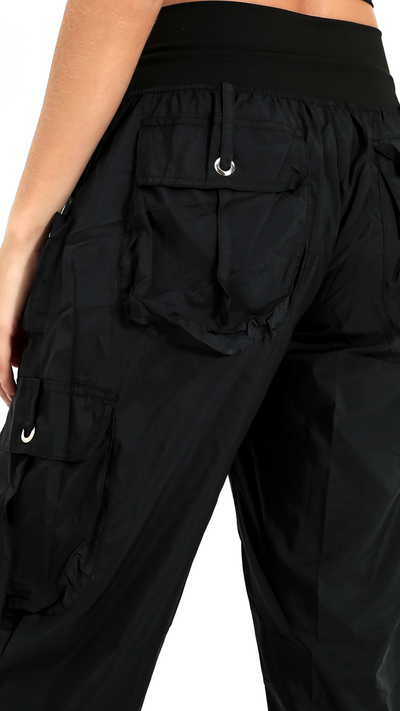 High-Waist Black Cargo Lis Long Pant LP603