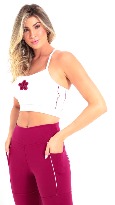 Raspberry Flower Daphne Crop Bra T473