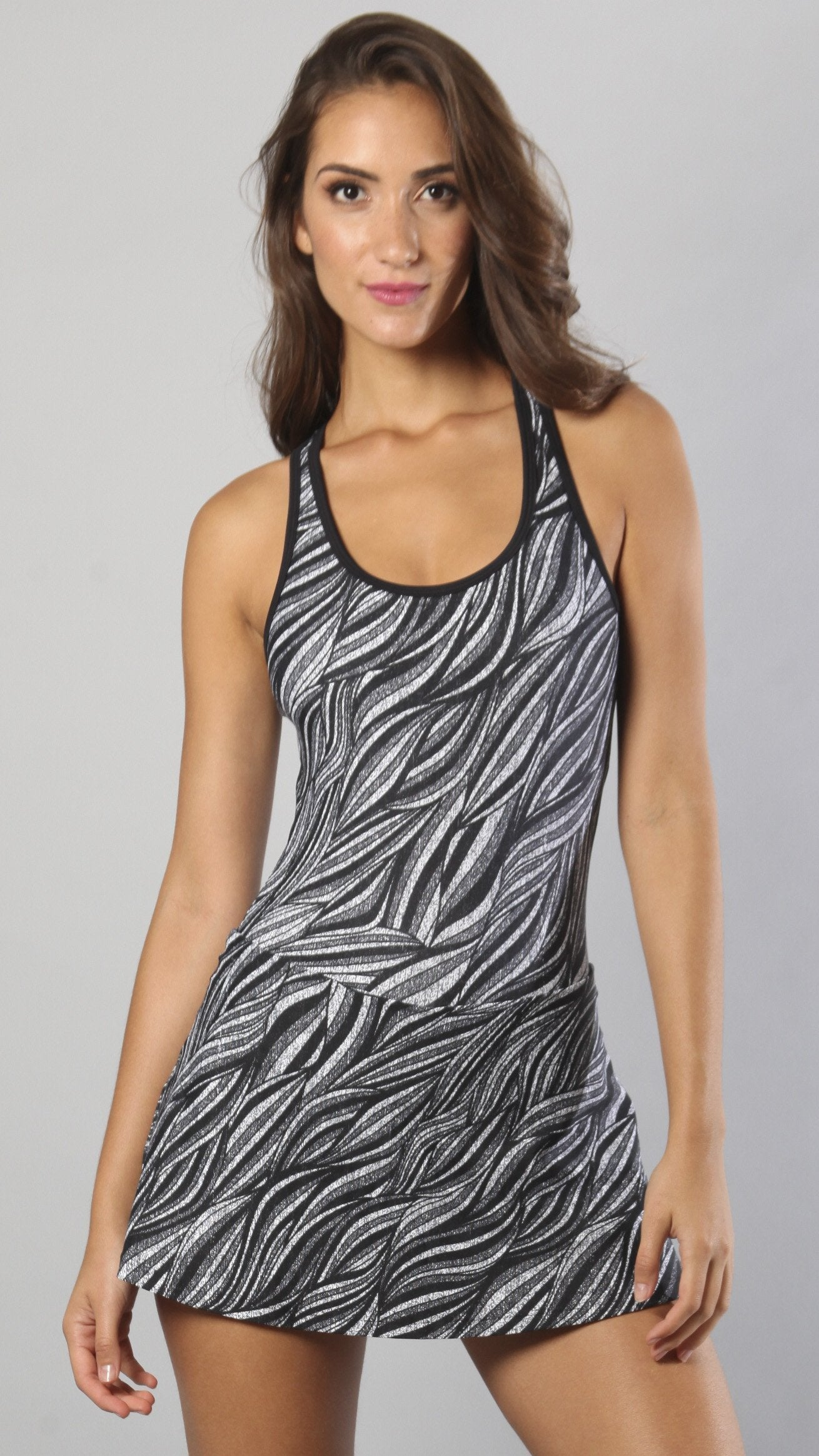 Designer Black and Charcoal Long Tank Top M653 - Equilibrium Activewear - Image 1