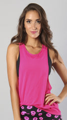 Designer Pink Long Tank Top - Loose Fitting LT1097 - Equilibrium Activewear - Image 1