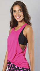 Designer Pink Long Tank Top - Loose Fitting LT1097 - Equilibrium Activewear - Image 5