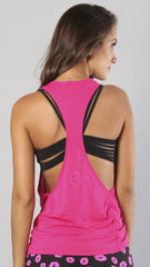 Designer Pink Long Tank Top - Loose Fitting LT1097 - Equilibrium Activewear - Image 2