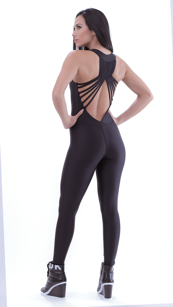 Shiny Black Arla Jumpsuit M661