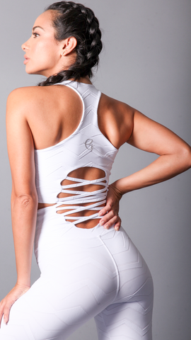 WHITE KAILA BRA TOPS T457 - Equilibrium Activewear