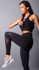BLACK LASER BIANCA LEGGINGS L7051 - Equilibrium Activewear