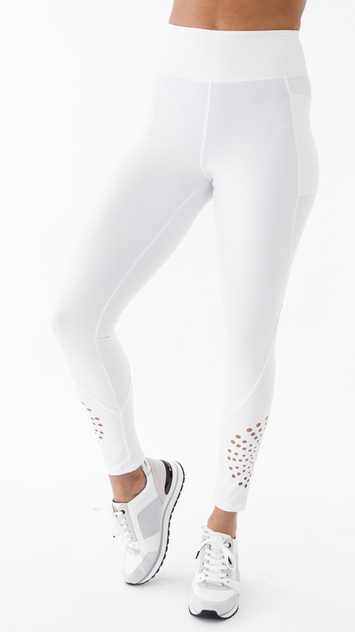 White Laser Cut Madison Legging L7044