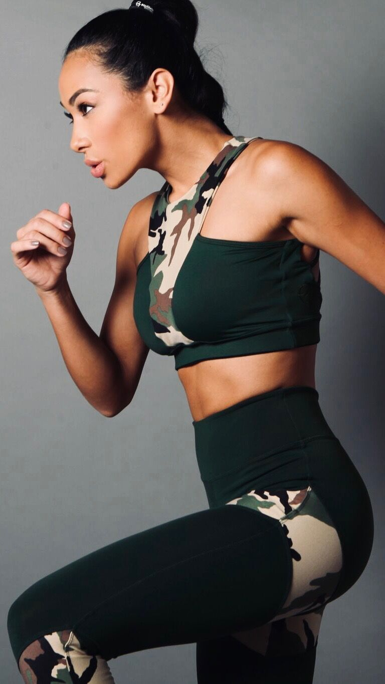 GREEN CAMO GRAZIELA TOP T462 - Equilibrium Activewear