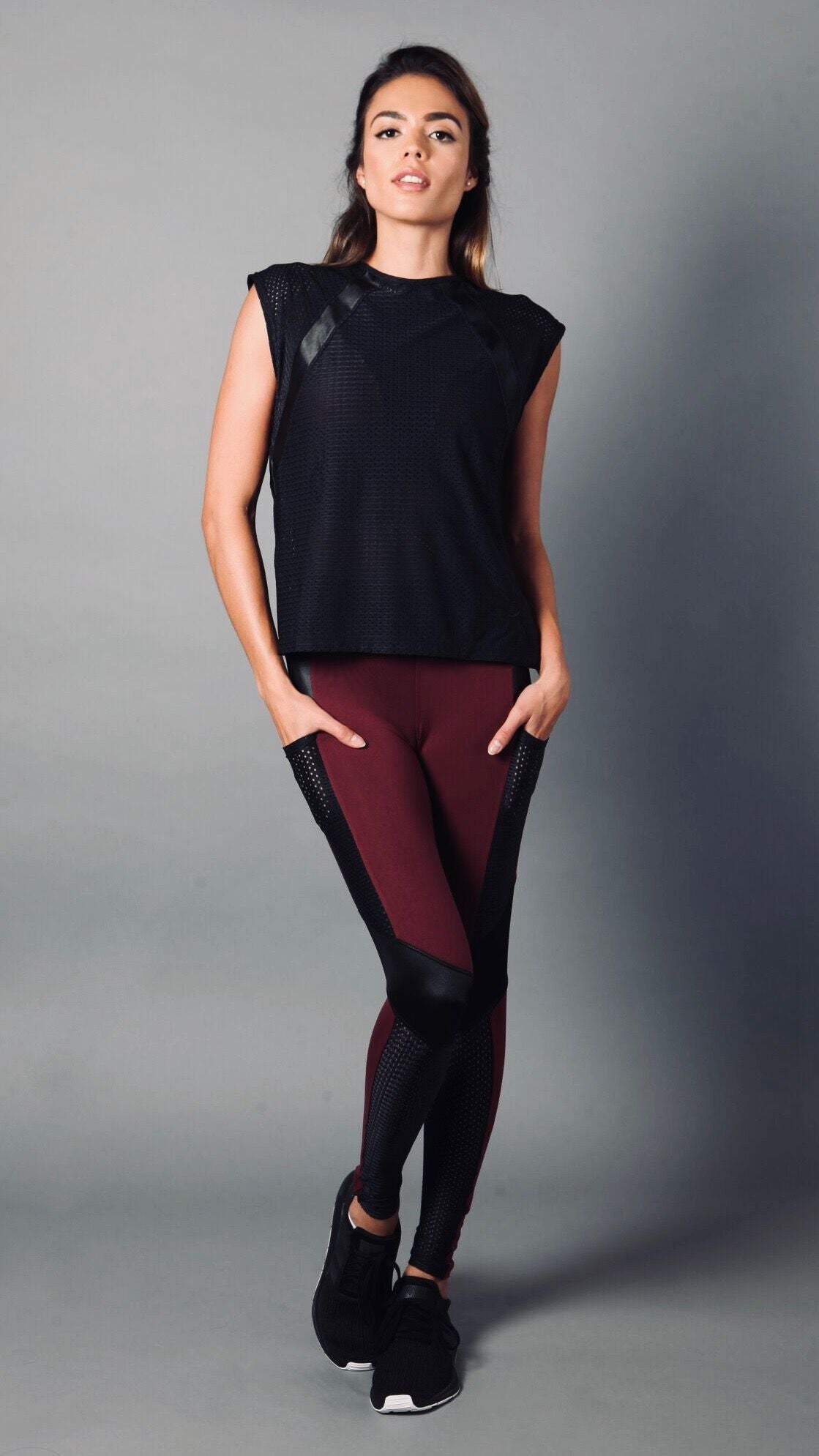 BLACK LEATHER LIZ LONG TOP LT1146 - Equilibrium Activewear