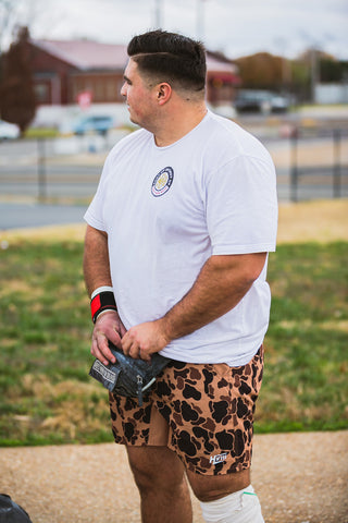 Nick in the Duck Camo GOAT Shorts