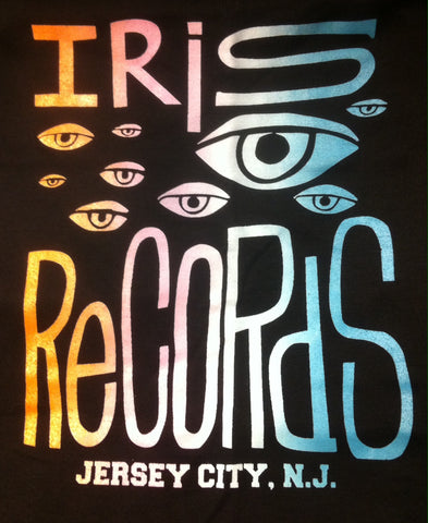 Iris Records Black Women's T-Shirt w/ Multicolor Print