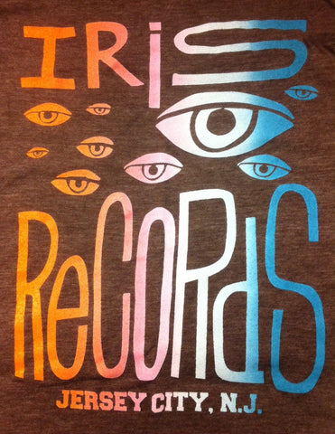 Iris Records Brown Men's T-Shirt w/ Multicolor Print
