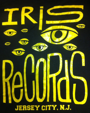Iris Records Women's Black T-Shirt w/ Yellow Print