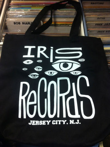 Iris Records Black Canvas Tote Bag w/ White Print