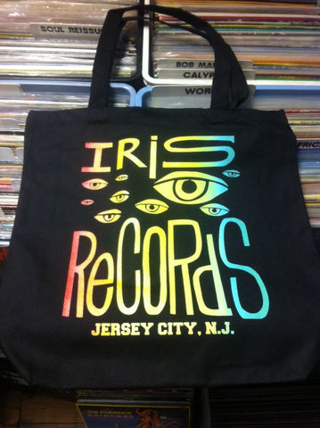 Iris Records Black Canvas Tote Bag w/ Multicolor Print