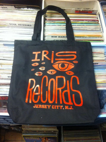 Iris Records Black Canvas Tote Bag w/ Red Print