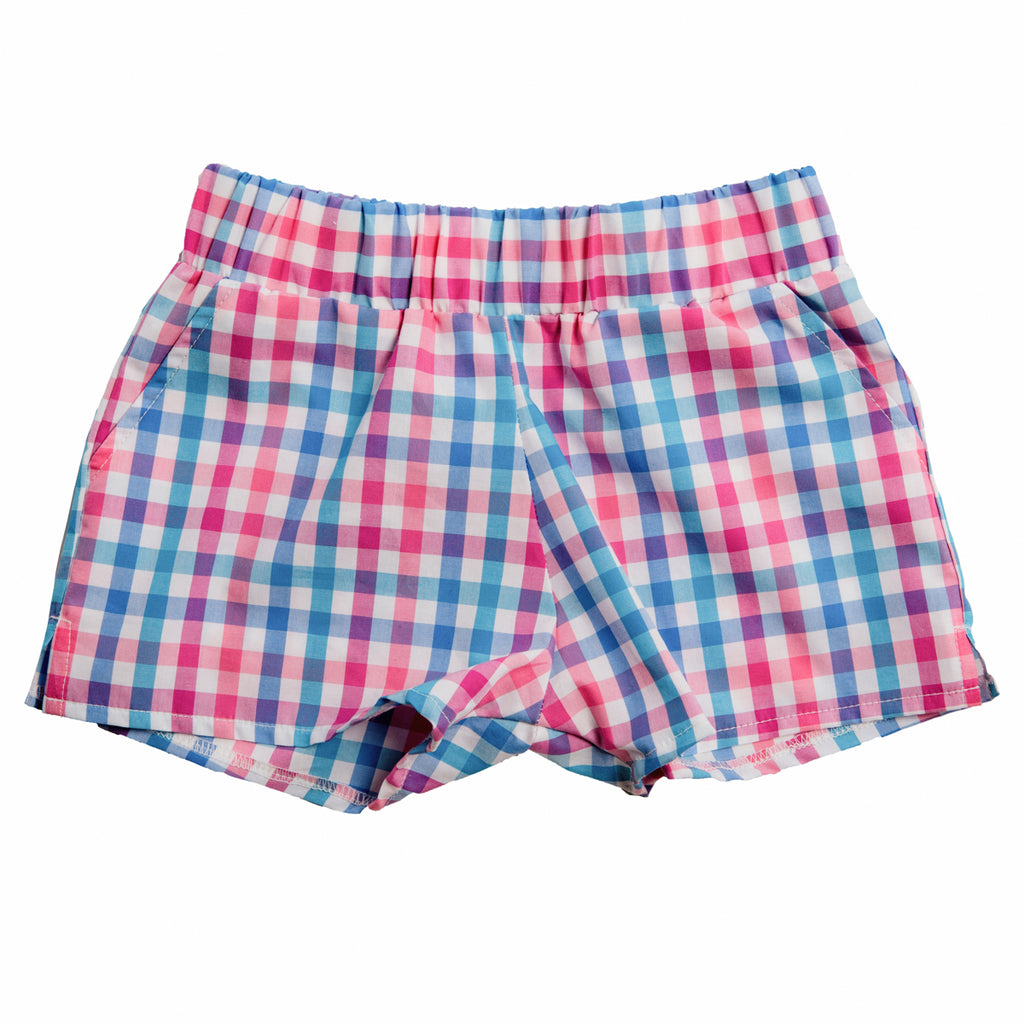 COTTON CANDY CHECK PLAY SHORTS