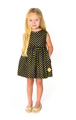 GOLD DOTS ON BLACK PINNY