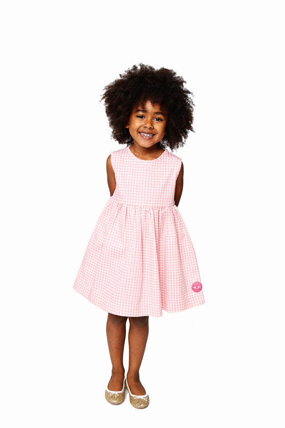 PINK HOUNDSTOOTH PINNY