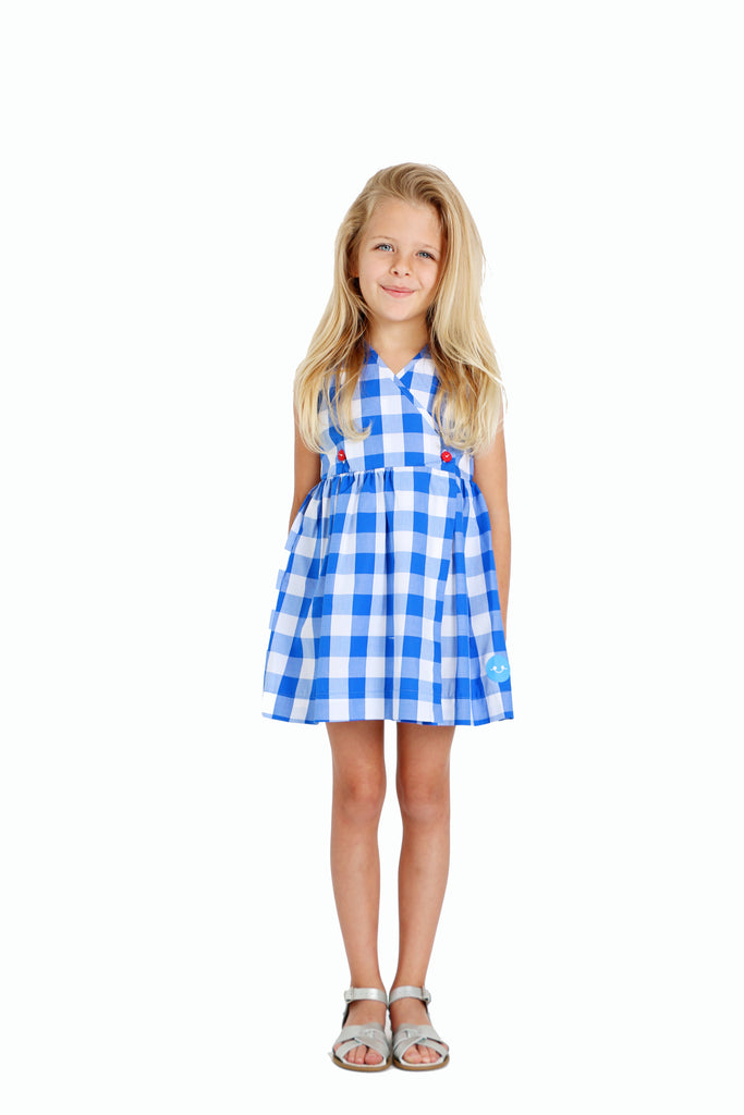 BRIGHT BLUE GINGHAM DOUBLE BUTTON