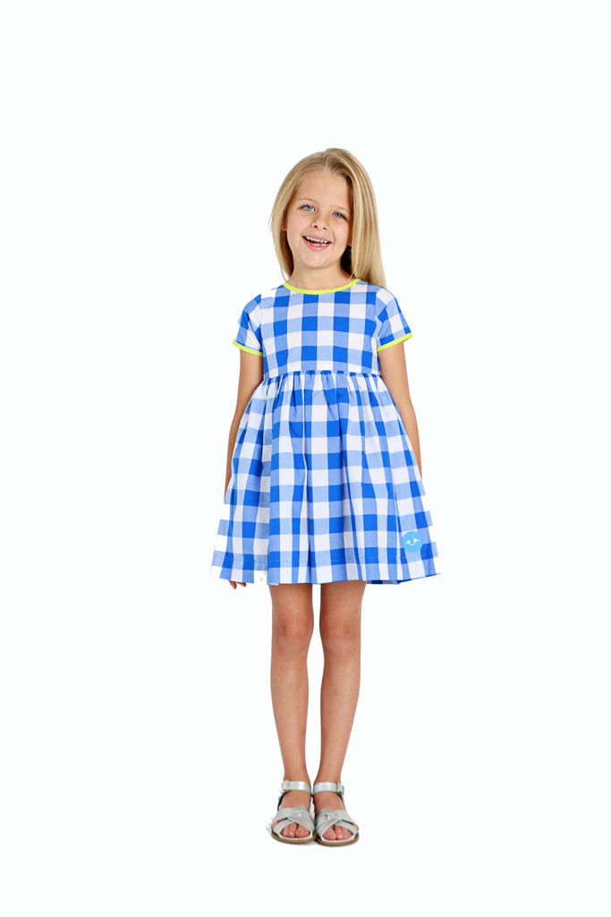 BRIGHT BLUE GINGHAM W/ NEON SUNDAY