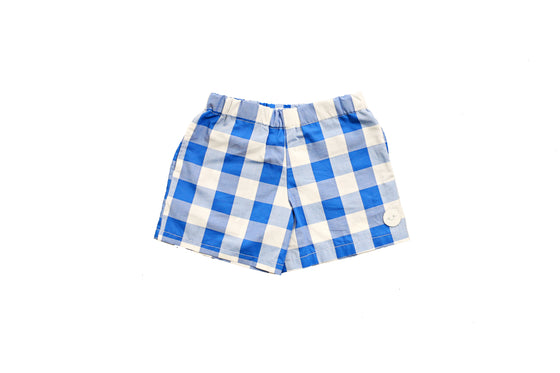 BRIGHT BLUE GINGHAM PLAYSHORTS