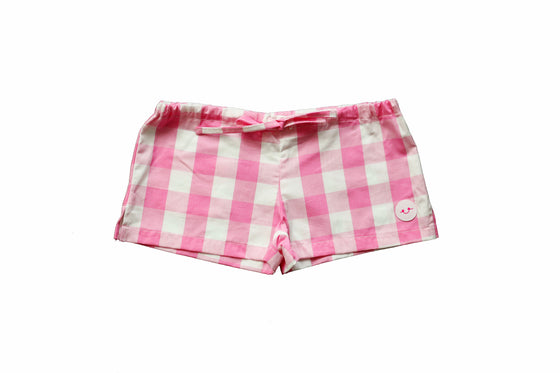 BUBBLEGUM GINGHAM PLAY SHORTS