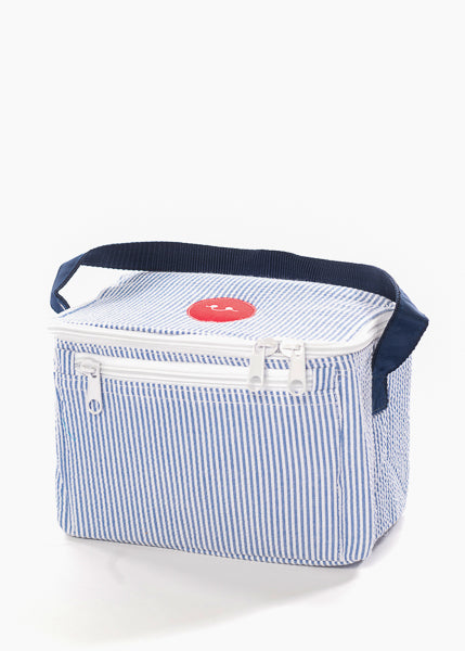 BLUE SEERSUCKER STRIPE LUNCH BOX