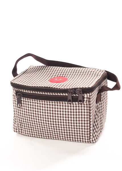 BROWN GINGHAM LUNCH BOX