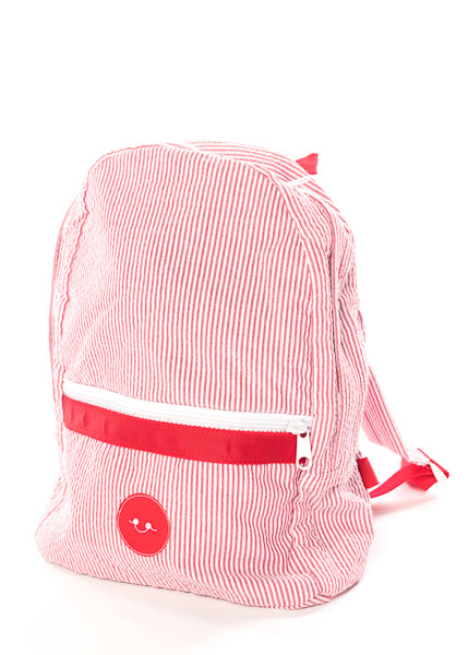 RED SEERSUCKER STRIPE BACKPACK