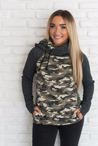 Camo double hooded sweatshirt