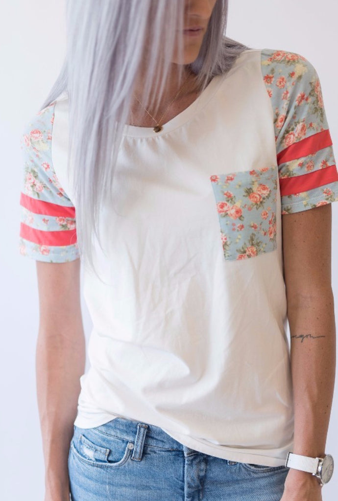 Floral and Pink Track Tee