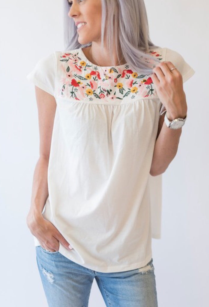 Embroidered Garden Top