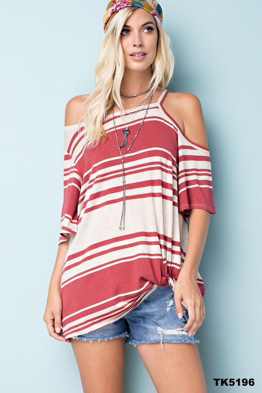 Brick Cold Shoulder Top