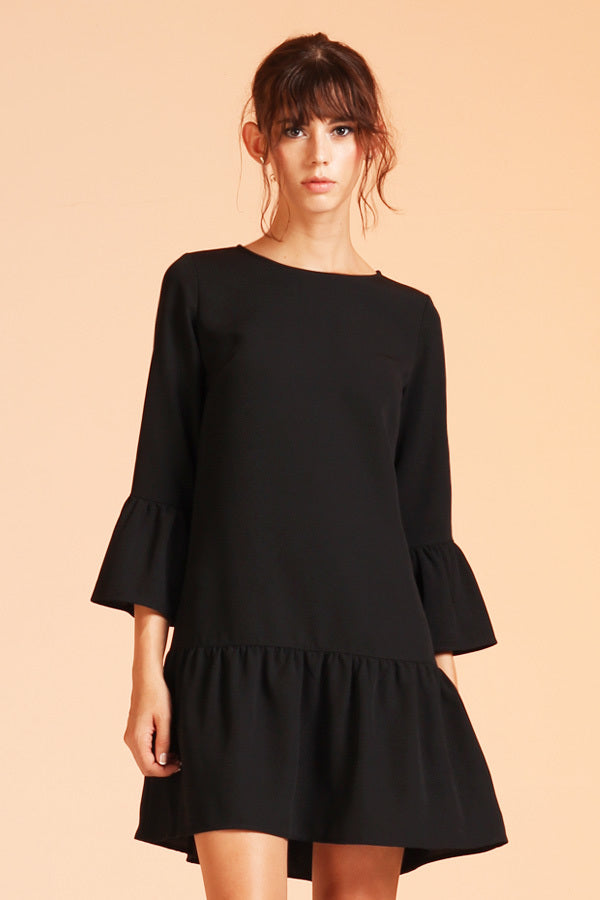 Chic Black Ruffle Dress