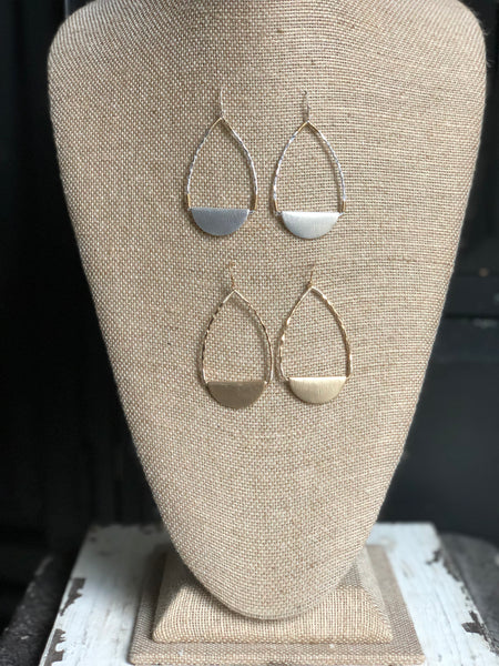 Brushed Gold and Silver Earrings