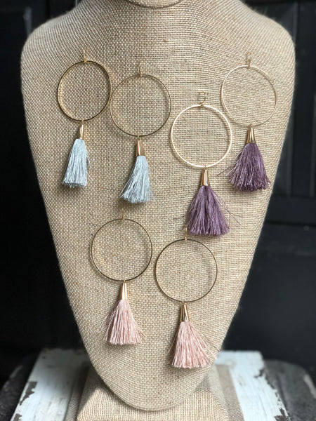 Gold Circle Tassel Earrings