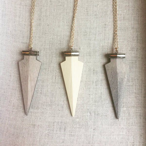 wooden arrowhead necklace