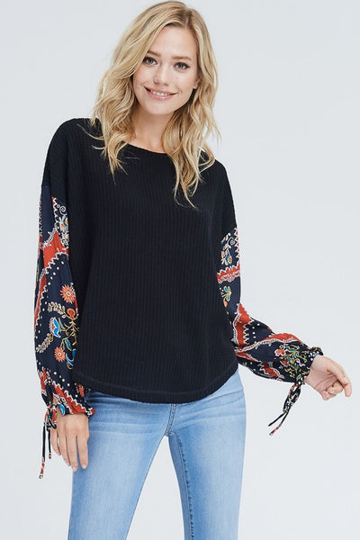 Floral Sleeved waffle knit top