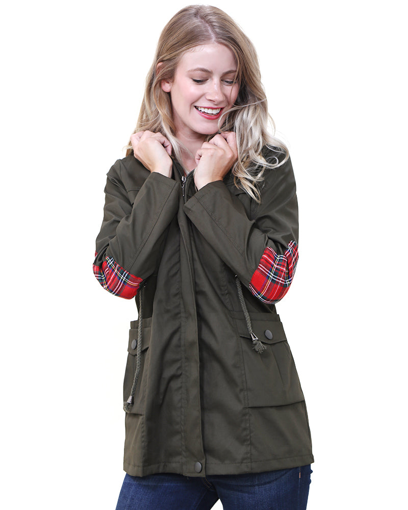 Olive Cargo Jacket with Royal Stewart Plaid