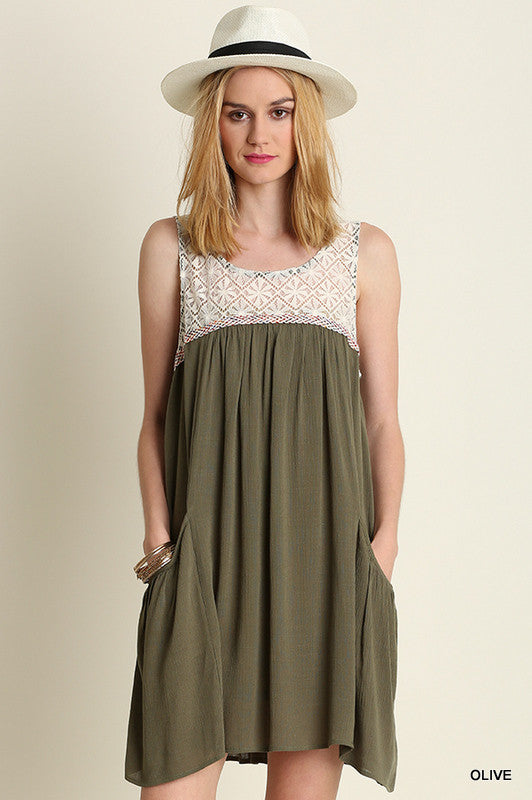 Olive Crocheted Dress