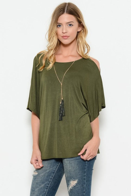 Olive Top with Tassel Necklace